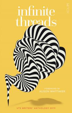 The book cover of Infinite Threads, featuring a yellow background and zebra-like pattern