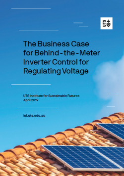 Cover of reportL The Business Case for Behind the Meter Inverter Control for Regulating Voltage