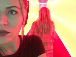 Christel wearing headphones