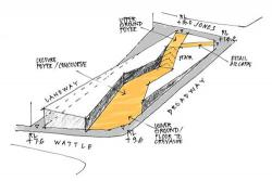 Yellow and grey sketch of the FEIT building concept