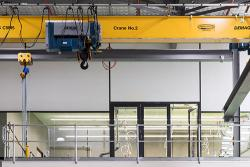 Yellow overhead crane in the UTS Tech Lab