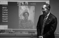 Dr Kasai on site at UTS speaking with Margaret Leong via Zoom