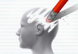 Pencil rubber erasing a brain