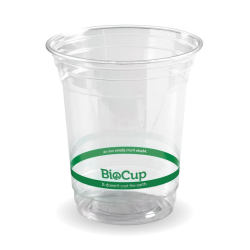 A PLA cup that looks like plastic, with a green stripe indicating it is commercially compostable