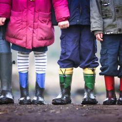 Children wearing gumboots