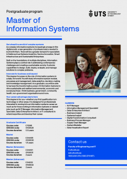 Cover of the UTS Master of Information Systems flyer