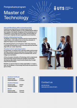 Cover of the UTS Master of Technology flyer