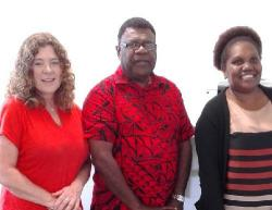 Amanda Neill (WHO CC UTS) with Mr John Tasserei (VCH) and Ms Rebecca Iaken (Vanuatu MoH).
