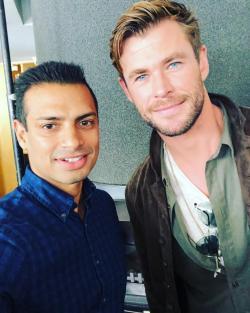 Selfie image of Akash with actor Chris Hemsworth