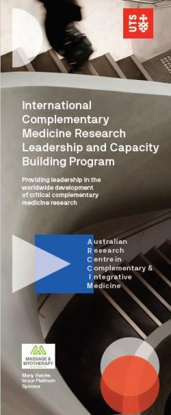 """A banner with the text """"International Complementary Medicine Research Leadership and Capacity Building Program"""
