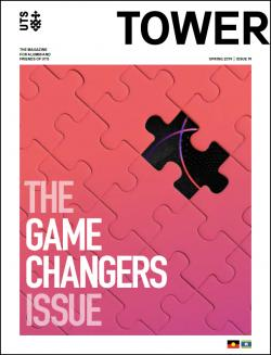 Cover page of Tower Issue 19 featuring a pink gradient jigsaw puzzle with a single piece missing
