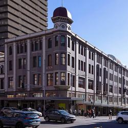 The heritage-style Bon Marche building on the corner of the busy Broadway and Harris St intersection