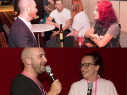 There are two images - the top image is of people sitting at tables talking, the bottom image has a man and a woman talking into microphones
