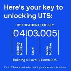 A blue square with text. Here's your key to unlocking UTS: UTS location key code. 04.03.005. Building number. Level. Room number. Building 4, level 3, room 005. Use UTS maps online for building numbers and locations.