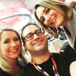 Seref in a group selfie with BBC presenters - Left to right: Karin Giannone, Seref, Lucy Hockings
