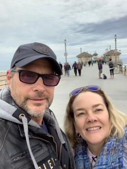 A selfie of Kim (right) and James (left) at Huntington Beach Pier