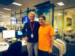 Seref with SBS mentor Ron Sutton standing in SBS studio