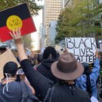 Photograph of a crowd of people at the Black Lives Matter protest in Sydney