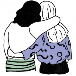 cartoon: two people viewed from behind hugging each others sides supportively