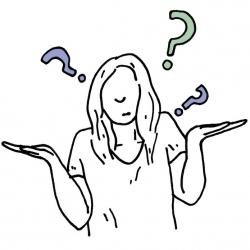 cartoon person with long hair shrugging with question marks around their head