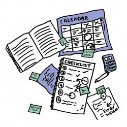 cartoon image of checklist, calendar and open notebook on table with sticky notes all over the desk.