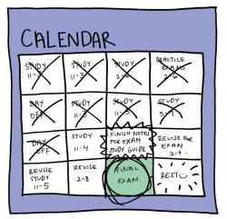a calendar with a study schedule. Many days are crossed out and there is a circle around an upcoming day with Final Exam written in it. The day after says rest.