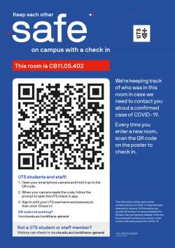 Poster with QR code for campus check in