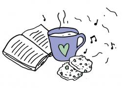 a hand-drawn sketch of a warm drink in a blue mug with a love-heart on it, next to some chocolate-chip cookies and an open book. There are music notes wafting through the background.