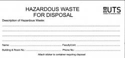 Hazardous Waste for Disposal sticker
