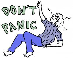 Person falling with text next to the saying don't panic