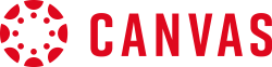 The Canvas circular logo followed by text that says Canvas in red