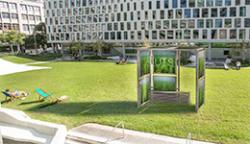 An artist's impression of the algae panel installation proposed for UTS's Alumni Green
