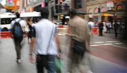 Pedestrians walking on Sydney street
