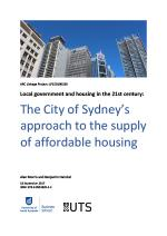 Cover of City of Sydney's approach to the supply of affordable housing report