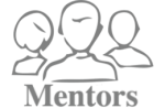 3 silhouettes and below the word Mentors