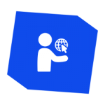 Icon - Person holding globe with click cursor