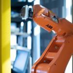 Orange robotic 3D printing arm