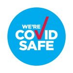 A blue circle with the text 'we're covid safe'