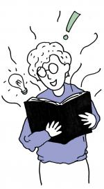 A hand-drawn picture of a short-haired person in glasses reading a book and smiling excitedly, ideas and thoughts are coming to them as they learn.