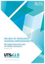 Cover of review of resource sharing arrangements between Kentish and Latrobe Councils