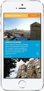 mobile phone displaying the UTS VR application