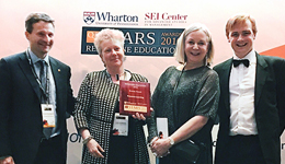 Professor Louise McWhinnie (second left) accepting the award in Philadelphia, picture supplied