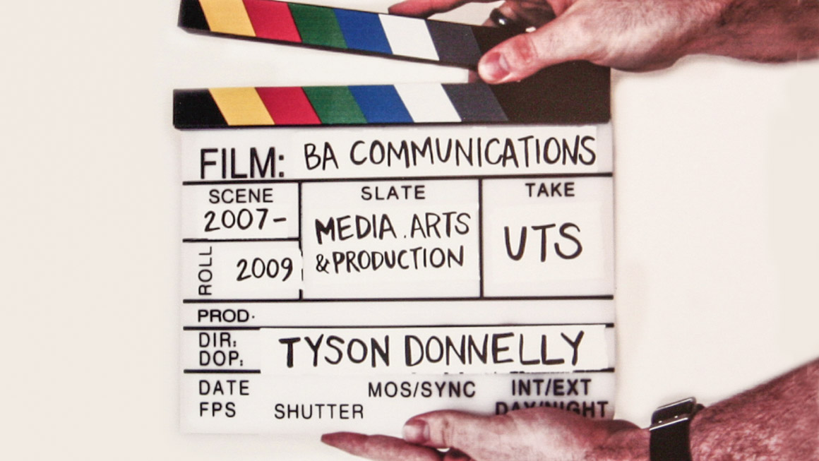 Self-promotional artwork by Tyson Donnelly - A clapperboard with details of his UTS study