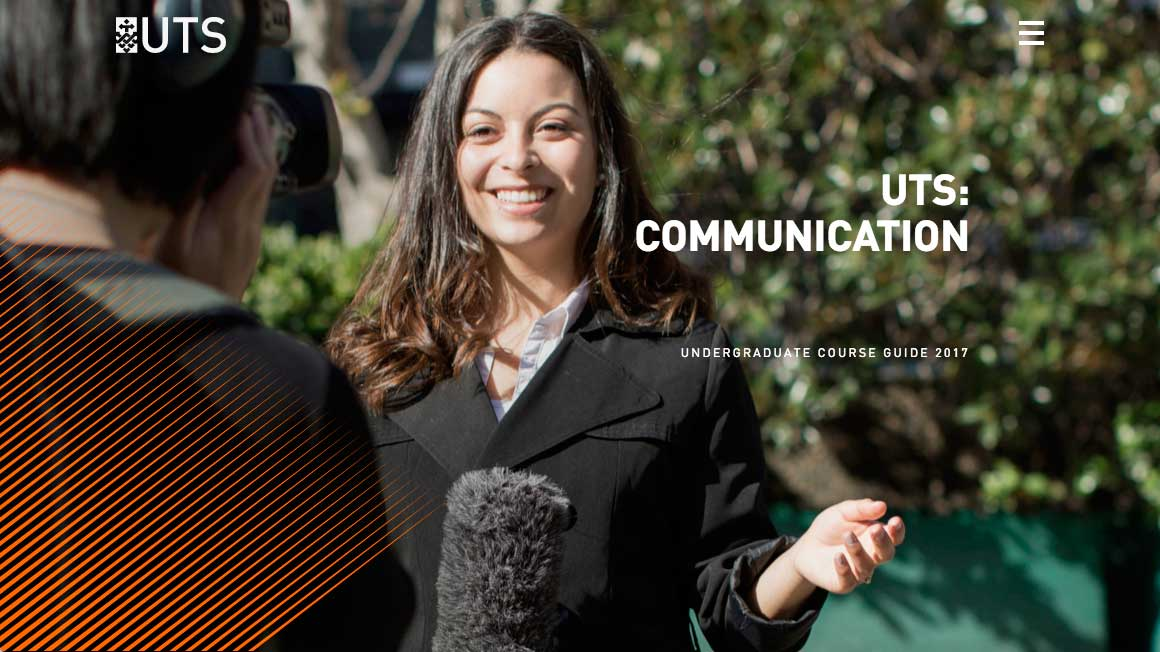 Screenshot of the UTS:Communication Undergraduate Digital Course Guide