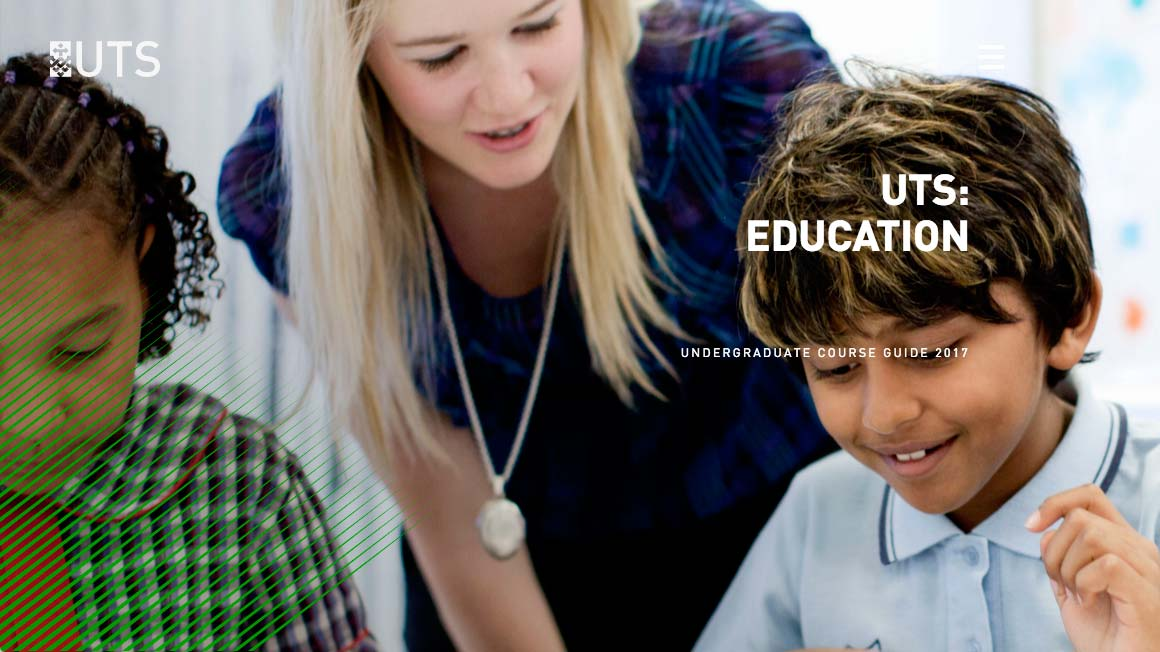 Screenshot of the UTS:Education Undergraduate Digital Course Guide