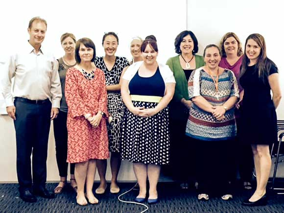 Don Carter (first on left) and Joanne Yoo (fourth from left) of UTS: Education with staff from the Catholic Diocese of Wollongong