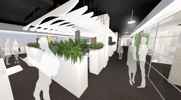 Artist's impression of the workspace on level 3, Building 5C
