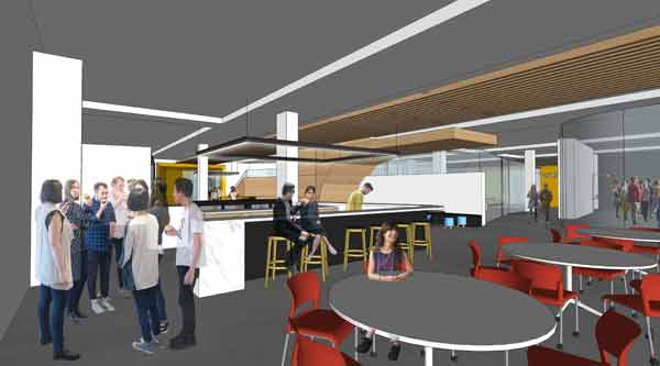 Artist impression of the break-out space in the Botany research centre