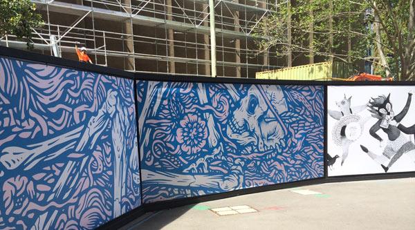 Hoarding graphics on Jones St