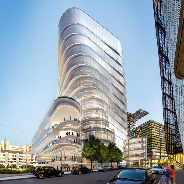 Artist impression of new Building 2 from Jones St